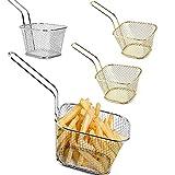 Cestini Di Patatine Fritte, 4 Pcs Cestini da Portata per friggere, Cestini per Friggere Mini Chips, Cestino per Patatine fritte quadrate, Cestini Patatine, per Casa, Bar