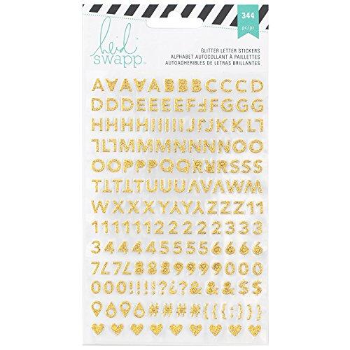 American Crafts–Heidi Swapp Memoria Planner Alfabeto Adesivi, 2/Fogli Rosa e Oro Glitter, Acrilico, Multicolore