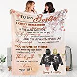 Custom Best Friend Throw Blanket with Name & Hairstyle- Soft Fleece Blanket | Best Friend Birthday Gifts for Women,Personalized Friendship Gifts for Teen Girls, Besties,Sister | Long Distance Gift