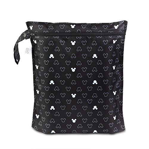 Bumkins Waterproof Wet Bag Disney Washable Reusable for Travel Beach Pool Stroller Diapers Dirty Gym Clothes Wet Swimsuits Toiletries 12x14 – Mickey Mouse Icon