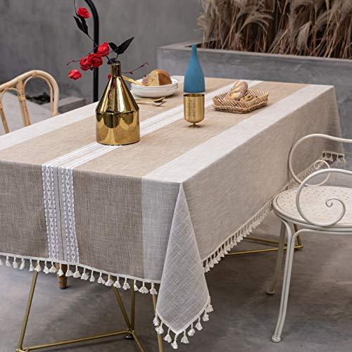 PhantasyIsland.com Mantel Rectangular de Cocina Moderno Efecto Lino Tela Decorativo