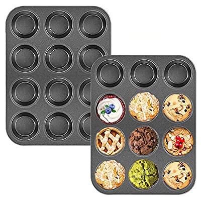 2 Pack 12-Cup Muffin Pan,Non-Stick Cupcake Bakeware Pan,Carbon Steel Muffin Tray Standard Baking Mold for Oven Baking,Pie