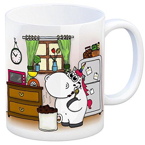 Honeycorns Kaffeebecher mit Einhorn Motiv Tasse Kaffeetasse Becher mug Teetasse Büro Tassenkuchen Rezept Mikrowellenkuchen Backen Naschen Nachtisch Mikrowelle Unicorn Einhorngeschenk lustig witzig