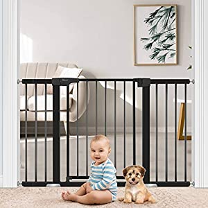 Extra Wide Baby Gates for Doorways Stairs, Yacul Walk Through Baby Gate with Door for 29.53″ to 52.36″ Up to 7 Openings, Height 30″ Pressure Mounted Auto Close Ideal Barrier for Toddler and Small Dogs