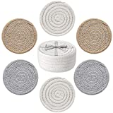UBBCARE Drink Coasters with Woven Holder Storage Basket Handmade Cotton Rope Absorbent Coasters Set of 6 (4.3 Inch, Round) Heat-Resistant Coasters Great Gift for Housewarming