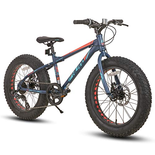 Hiland 20 Inch Kids Fat Tire Mountain Bike 7-Speed MTB Bicycle for Boys Girls Urban Commuter City Bicycle Blue