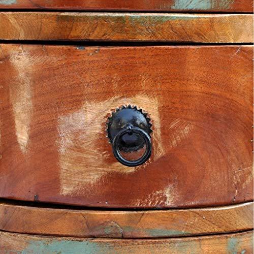 NBVCX Hausrenovierung Recycling-Massivholz Runde Kommode mit 3 Schubladen