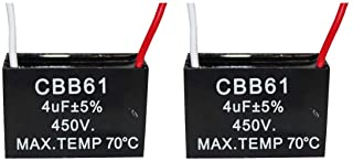 CompStudio 2Pcs 4UF 450V AC CBB61 Ceiling Fan Capacitor 2 Wire 50/60Hz