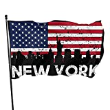 Yilimi Hui New York City American Flag Skyline Double Sided Printing 3x5 Foot Flag Outdoor Double Sided 3x5 Ft Flags Best Military Flag is Not Damaged Durable