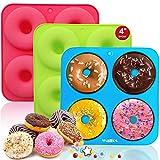 Walfos Molde de silicona para donuts, molde de silicona antiadherente, para tartas, galletas, bagels magdalenas, adecuado para lavavajillas, horno, microondas (3 unidades de 4 tazas de tamaño grande)