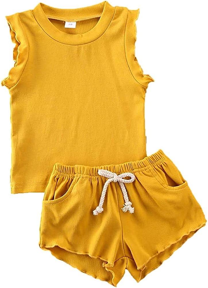 Todddler Baby Girls Summer Outfits Cotton Sleeveless Tank Top + Drawstring Pocket Shorts Clothes Set