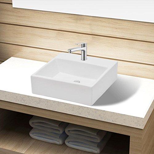 UnfadeMemory Lavabo Cerámica de Baño con con Orificio de Grifo/Desagüe,sobre la Encimera/Montado en Pared (Blanco)