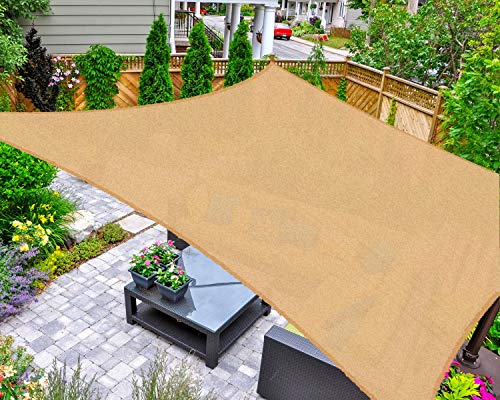 AsterOutdoor Sun Shade Sail Rectangle 12' x 16' UV Block Canopy for Patio Backyard Lawn Garden Outdoor Activities, Sand