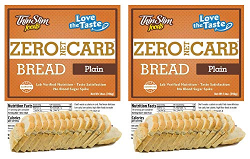 ThinSlim Foods Keto Low Carb Bread – Plain Bread, 2 Pack (14 Slices Each)