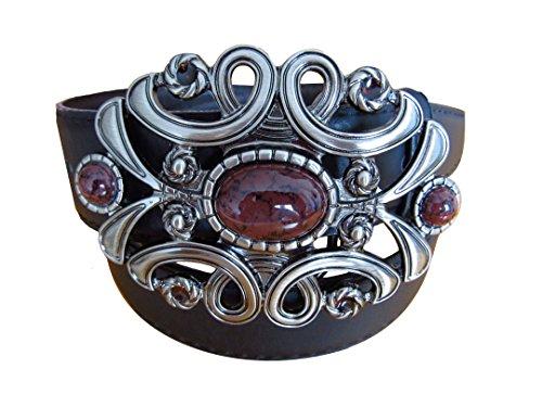Gürtel-Guru Damen Ledergürtel mit Ornamentschnalle, mehrere Designs