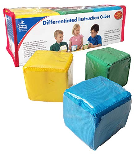 Carson Dellosa Differentiated Instruction Cubes—Blue, Yellow, Green Foam Learning Cubes with Clear Pockets, Customizable Learning Activities and Cards for All Subjects (3 pc)