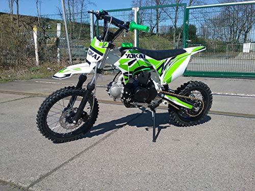 """125cc Dirtbike Yokai 14""""/12"""" 4-Gang Kick-Start Crossbike Pocketbike Pitbike Bike ATV (Grün)"""