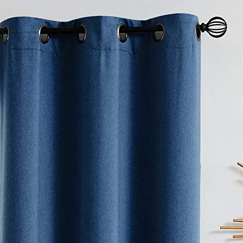 Fmfunctex Bedroom Full Blackout Curtains 84 inches Long Navy Blue Window Curtain Drapes for Living Room Guest Nursery Baby Men Energy Efficient Curtain Panels for Dorm 52