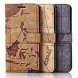 Roar Handy Hülle für Sony Xperia Z1 Compact Handyhülle Weltkarte Tasche Schutzhülle Handytasche [2X Kartenfach, Magnet-Verschluss, Vintage Wallet Etui] - Grau
