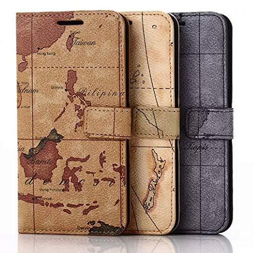Roar Handy Hülle für Sony Xperia Z1 Compact Handyhülle Weltkarte Tasche Schutzhülle Handytasche [2X Kartenfach, Magnet-Verschluss, Vintage Wallet Etui] - Braun