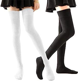 HOMERIT Plus Size Thigh High Socks Extra Long White Black Sock For Women Cotton Over The Knee High Boot Stockings Knit Leg...