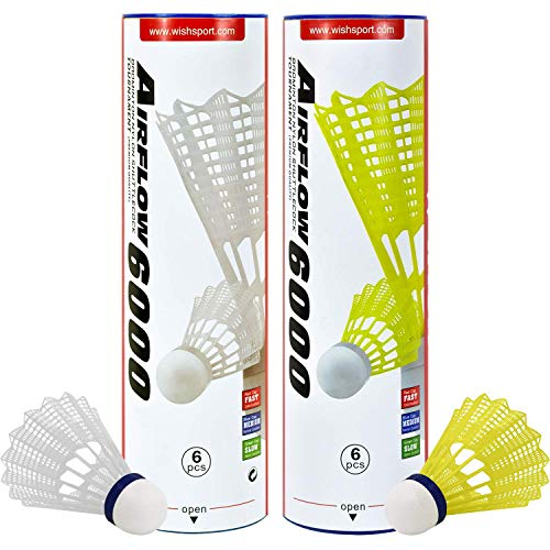 WISH Airflow 6000 Badminton Tournament Shuttlecocks – 6 Pack Tube of Durable Nylon Shuttlecocks with Cork Tips – Badminton Birdies for Indoor and Outdoor Play, Yellow