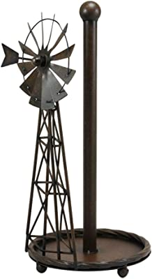 "25/""H Large Rustic Western Country Farm Windmill Outpost Galvanized Metal Statue"