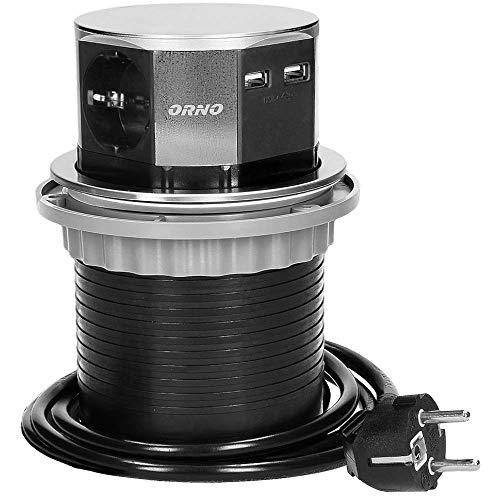 Orno AE-1381(GS) Enchufe Multiple Retractible con 3 Tomas + 2x USB 3650W...