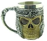 Taza Calavera con Casco - Calavera - Esqueleto - 3D - Acero Inoxidable - Resina - Jarra de Cerveza - Horror - gótico - Bebidas - Hombre - Vikingo - Medieval - Halloween