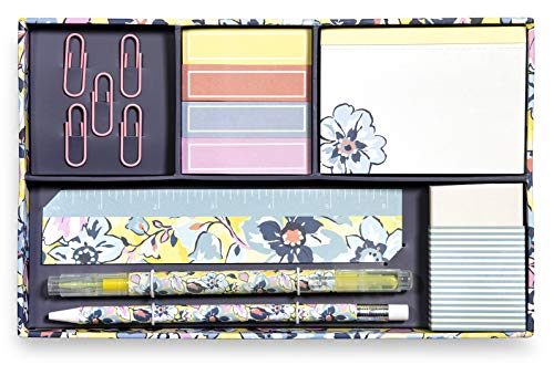 Vera Bradley Office/School Desk Supplies Set with Storage Box, Organizer Includes Paper Clips, Sticky Notes, Highlighter, Ruler, Pencil, Eraser, and Notepad (Sunny Garden)