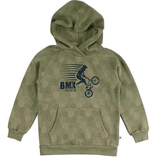 Fred's World by Green Cotton Boys BMX Hoodie Hooded Sweatshirt, Moss, 122