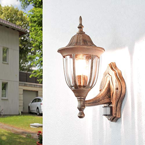 *Nostalgische XXL Aussen Wandleuchte mit Bewegungsmelder Sensor in Antik Kupfer mit E27 Fassung IP44 rustikal große Aussenleuchte Wandlampe Hof Garten*