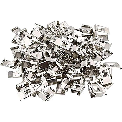 Vaorwne 500 Pcs 3D Printer Glass Bed Clips Swiss Metal Small Picture Photo Frame Spring Turn Clip Hanger Silver Tone 26mmx14mm