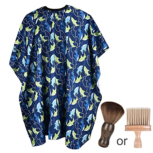 FaHaner Kids Haircut Cape + Brown Barber Brush Set Professional Boys Barber Cape with Adjustable Closure Dolphin Salon Cape 120 100cm Perfect for Kids