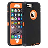 GreatCase for iPhone 6/6s,Shockproof Heavy Duty Built-in Screen Protector Durable 3 in 1 Cover Drop-Proof Scratch-Resistant Protective Cases for iPhone 6/6s 4.7 inch Black&Orange