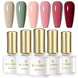 BORN PRETTY Juego de esmalte de uñas en gel UV Nail Art Gel Soak Disappear Pure Color Design Juego de 6 botellas (Set5)