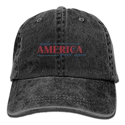 Yueha Unisex Make American Great Again Clásico Algodón Lavado teñido Sombrero de béisbol de Color sólido Talla única