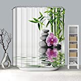 Dreamdge Duschvorhang 90 x 180, Wasserdicht Anti Schimmel Bad Vorhang aus Polyester Weißgrüner Bambus mit 12 Duschvorhangringe für Badezimmer
