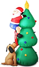Christmas Inflatables Outdoor 1.8M Inflatable Christmas Santa on Christmas Tree w/ 3 LED Lights Built-in Fan for Quick Set...