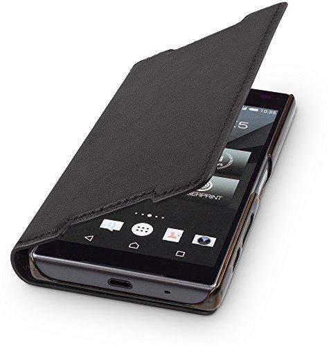 WIIUKA Echt Ledertasche - TRAVEL - kompatibel mit Sony Xperia Z5 Compact, Hülle mit Kartenfach, Schwarz, extra Dünn, Premium Design Leder Tasche Case