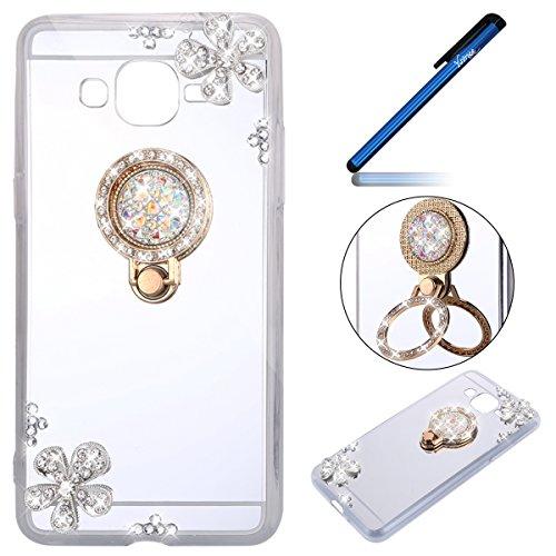 Ysimee Coque Galaxy Grand Prime, Miroir Silicone Étui Strass Glitter Fleur Housse de Protection avec Anneau Support Couleur Plaquée Ultra Mince Coque