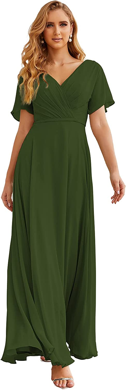 Numbersea Wrap V-Neck Chiffon Bridesmaid Dresses Long Formal Maxi Evening Gown for Wedding Guests