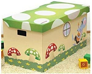 Krooom Super 100L Strong  Robust Cardboard Toy Storage Box with Cute Toadstool Design  Green  Assorted Colours