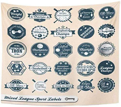 Tapiz Golf Béisbol Vintage Liga mixta Etiquetas e insignias deportivas Bolos Bate de baloncesto Decoración para el hogar Tapiz Colgante de pared para vivir 150x200cm