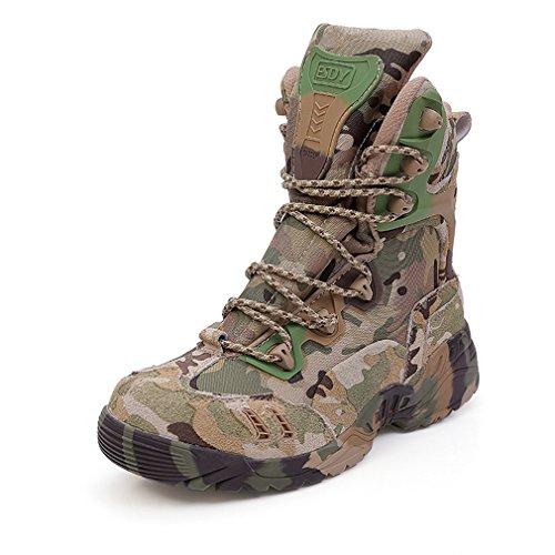 emansmoer Uomo Camo Esercito Militare High-top Scarpe Impermeabile Outdoor Sport Stivali da Escursionismo Trekking Caccia (42 EU, Camo)