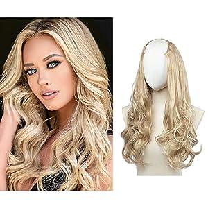 SARLA Blonde U Part Hair Extensions Wavy Curly Clip in Full Head U Shape Wig Synthetic Long 24 Inch for Women Heat Friendly Fiber