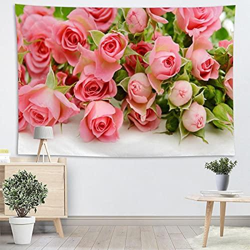 Tapiz de flor rosa tapiz de tela dormitorio sala de estar y artista decoración del hogar