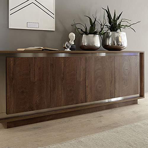 M-012 dressoir kleur hout en roestvrij staal erine