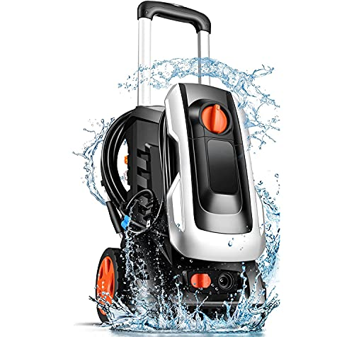 mrliance [Upgrade Ver] Electric Pressure Washer 3350 PSI 2.55GPM Pressure Washer 1800W Power Washer with New Retractable Handle,4 Nozzles&Soap Bottle,Compact Design for Home,Garden,Car(Sliver)