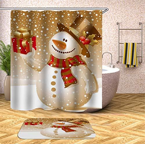 Fansu 3D Schneemann Duschvorhang Vorhang für Badzimmer Anti-Schimmel Wasserdicht Antibakteriell Drucken, 100prozent Polyester Transparent Karikatur mit 12 Duschvorhangringe (90x180cm,Weihnachten E)